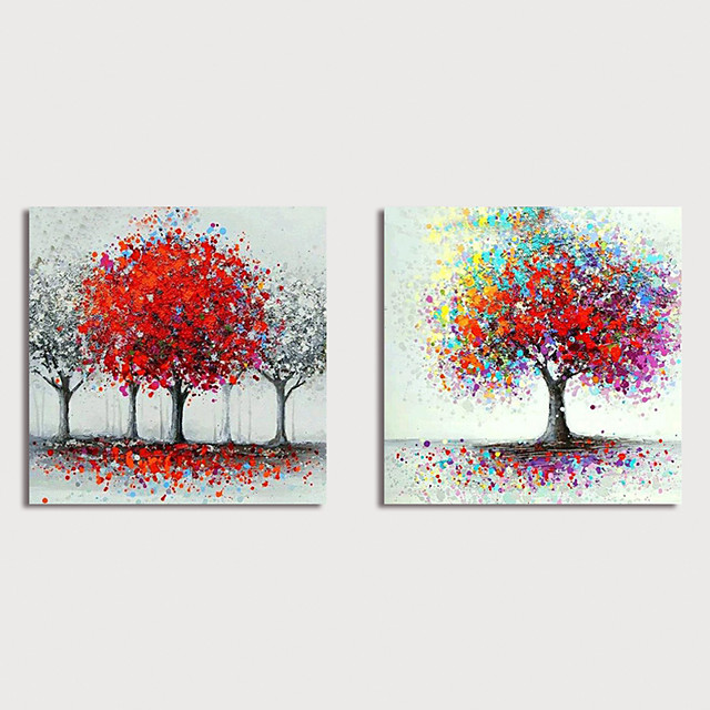 Hand-Painted Abstract Trees Paintings Canvas Art  Painting Abstract Acrylic Painting Modern Art Textured Art Set of 2 with Stretcher Ready to Hang With Stretched Frame