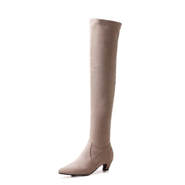 Women's Boots Wedge Heel Pointed Toe Classic Daily Solid Colored Nubuck Over The Knee Boots Black Beige Gray