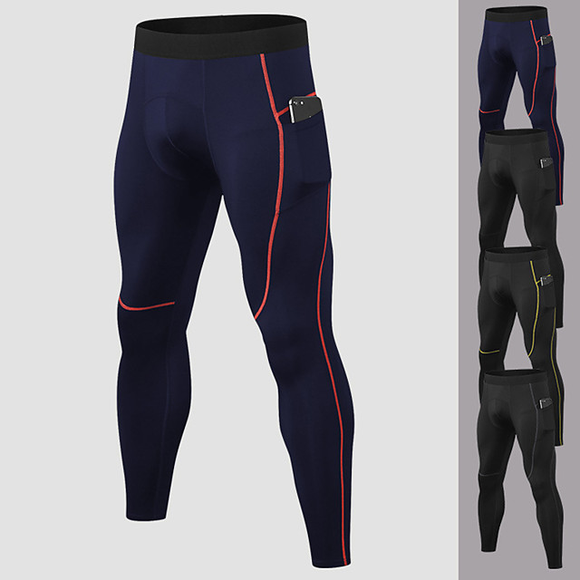 YUERLIAN Men's Running Tights Leggings Compression Pants Athletic Base Layer Bottoms with Phone Pocket Spandex Fitness Gym Workout Performance Running Training Breathable Quick Dry Moisture Wicking