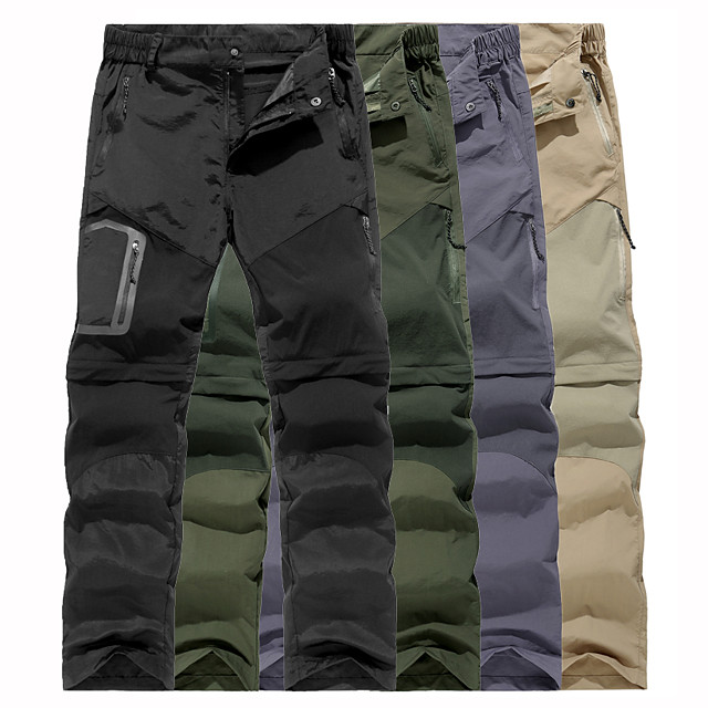 Men's Hiking Pants Trousers Convertible Pants / Zip Off Pants Summer Outdoor Water Resistant Quick Dry Multi Pockets Lightweight Zipper Pocket Elastic Waist Pants / Trousers Bottoms Army Green Black
