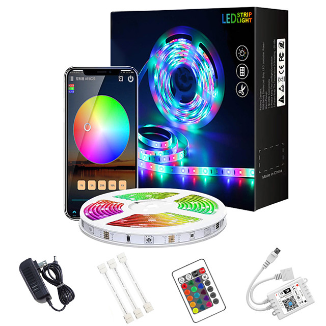 LED Strip Lights WIFI 32.8ft 10m App Intelligent WIFI Control 5050 RGB (1x10m)LED Soft Strip Light with IR 24 Key Controller for DIY Home Lighting