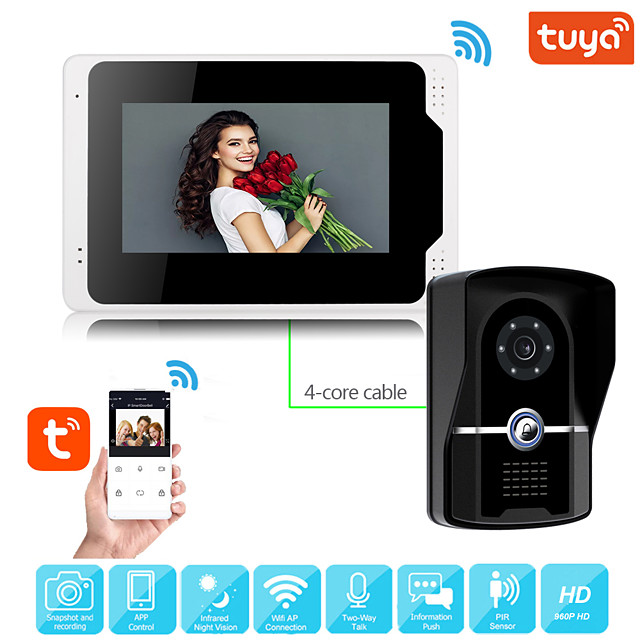 Wired Video Intercom System With Tuya 7 Inch Video Doorbell Door Phone System Wired Video Door Phone HD 1080P Camera Kits Support Unlock Monitoring Dual-way Intercom for Villa Home Office Apartment