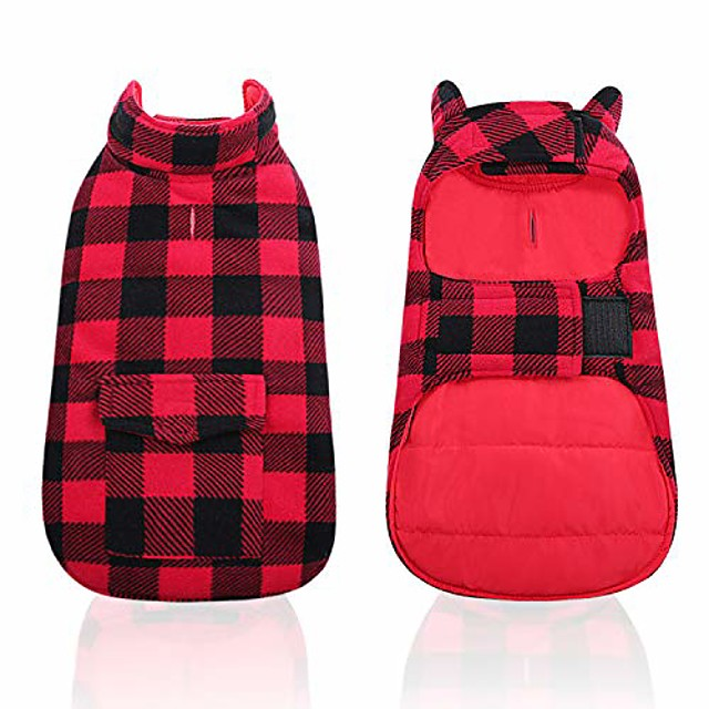 dog winter clothes plaid reversible jackets for small medium large dogs windproof warm vest pets cold weather coats with pockets