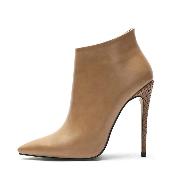 Women's Boots Stiletto Heel Boots Pumps Pointed Toe Booties Ankle Boots Casual Daily Walking Shoes Suede Solid Colored Almond Black Dark Blue / Booties / Ankle Boots / Booties / Ankle Boots