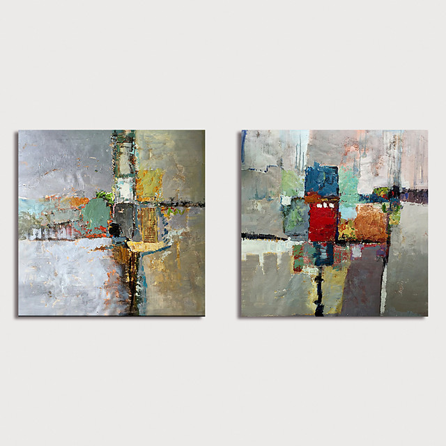 Hand-Painted Abstract Paintings Canvas Art  Painting Abstract Acrylic Painting Modern Art Textured Art Set of 2 with Stretcher Ready to Hang With Stretched Frame