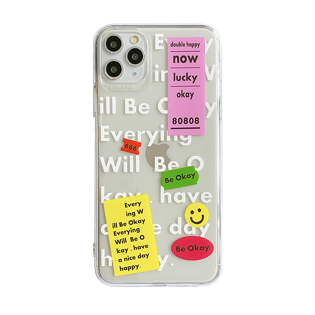 Case For Apple iPhone 7 8 7 Plus 8 Plus X XS XR XS Max SE 11 11 Pro 11 Pro Max Pattern Back Cover Transparent  TPU Word  Phrase