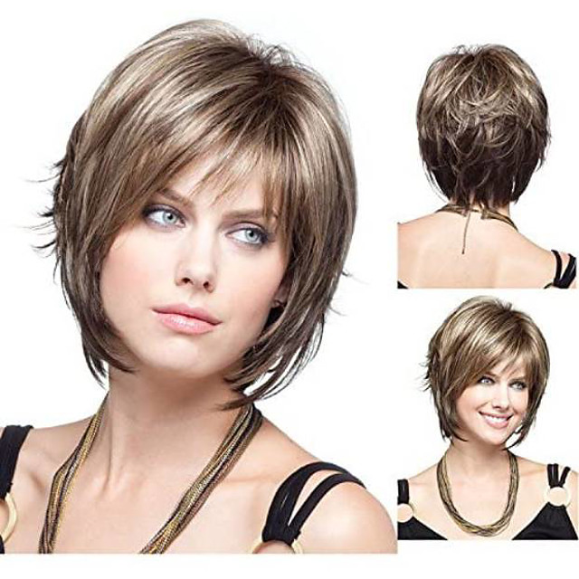 Synthetic Wig Straight Straight Bob Pixie Cut With Bangs Wig Short Brown With Blonde Synthetic Hair Women's Brown