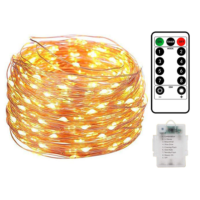10M 100LED Waterproof Remote Control 8 Function Copper Wire LED String Lights Outdoor String Lights AA Battery-Powered Fairy Light Christmas Wedding Birthday Family Party Room Decoration Without Batte