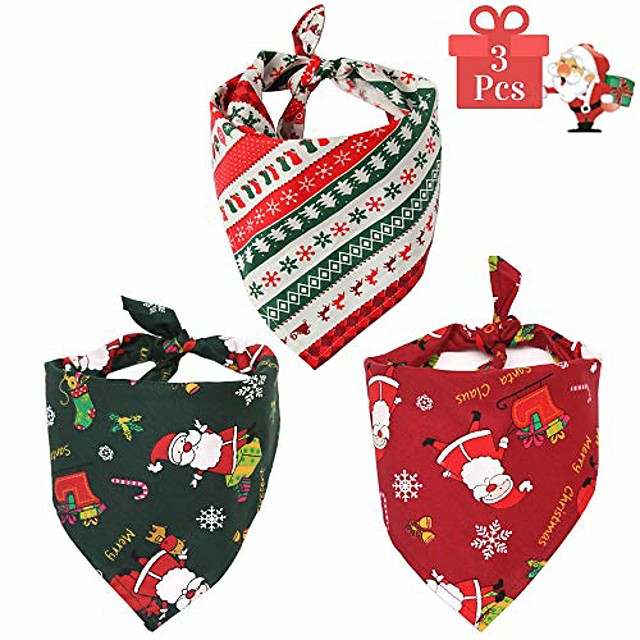 dog bandana puppy christmas scarf, 3pcs for small medium and large dogs, pet accessory printing cat kerchief for travel triangle bibs for christmas (christmas, 3 pack)