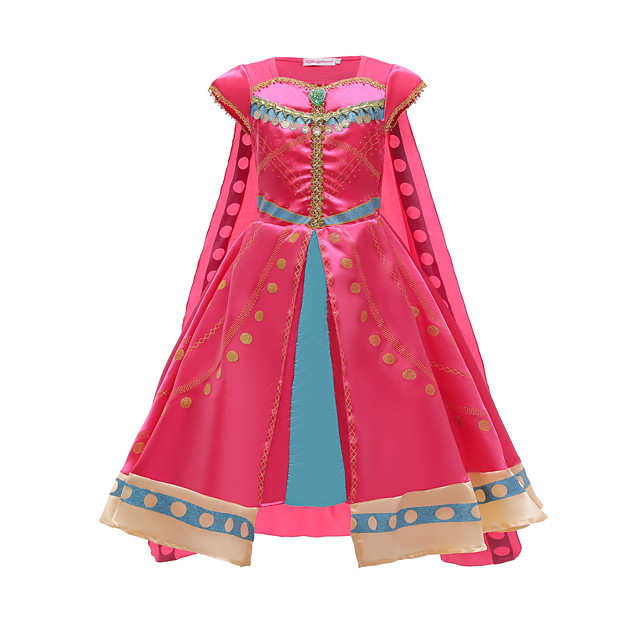 Princess Dress Cosplay Costume Girls' Movie Cosplay Vacation Dress Halloween Fuchsia Dress Cloak Halloween Carnival New Year Polyester / Cotton
