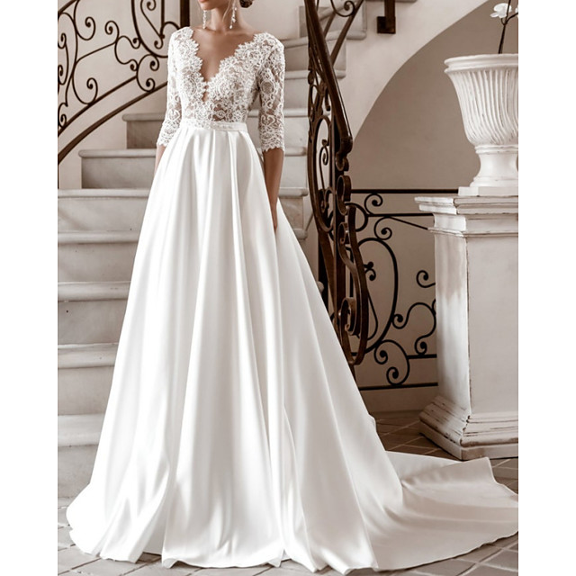 A-Line Wedding Dresses V Neck Sweep / Brush Train Lace Satin Half Sleeve Formal with 2021