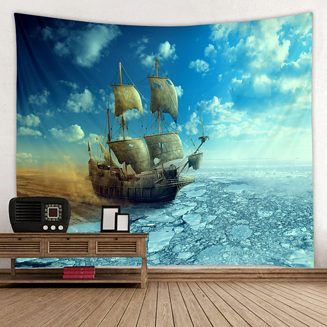 Old Wooden Boat by the sea Digital Printed Tapestry Decor Wall Art Tablecloths Bedspread Picnic Blanket Beach Throw Tapestries Colorful Bedroom Hall Dorm Living Room Hanging