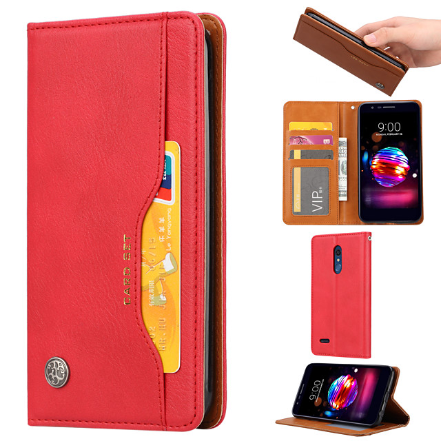 Case For LG K10 2018  K8 2018 Card Holder  Shockproof  Magnetic Full Body Cases Solid Colored PU Leather  TPU