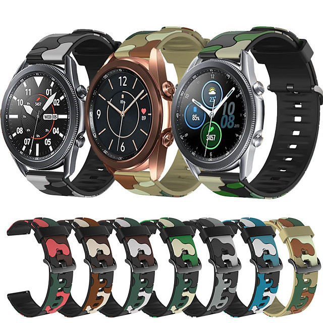 Sport Silicone Watch Band for Samsung Galaxy Watch 3 45mm 41mm / Galaxy Watch 46mm 42mm / Active 2 40mm 44mm / S3 Classic Frontier / Gear Sport / S2 Classic Replaceable Bracelet Wrist Strap Wristband