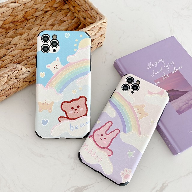 Case For Apple iPhone 7 8 plus SE 2020 X XS XR XS max  11 11 Pro 11 Pro Max Pattern Back Cover  Cartoon TPU Embossed cute LOVELY