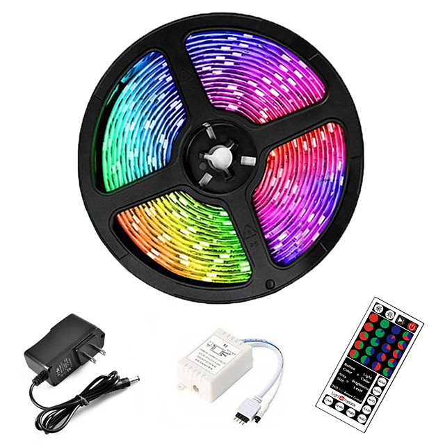LED Strip Lights Waterproof RGB 5M Tiktok Lights 300 LEDs 2835 8mm Flexible and IR 44Key Remote Control Linkable Self-adhesive Color-changing