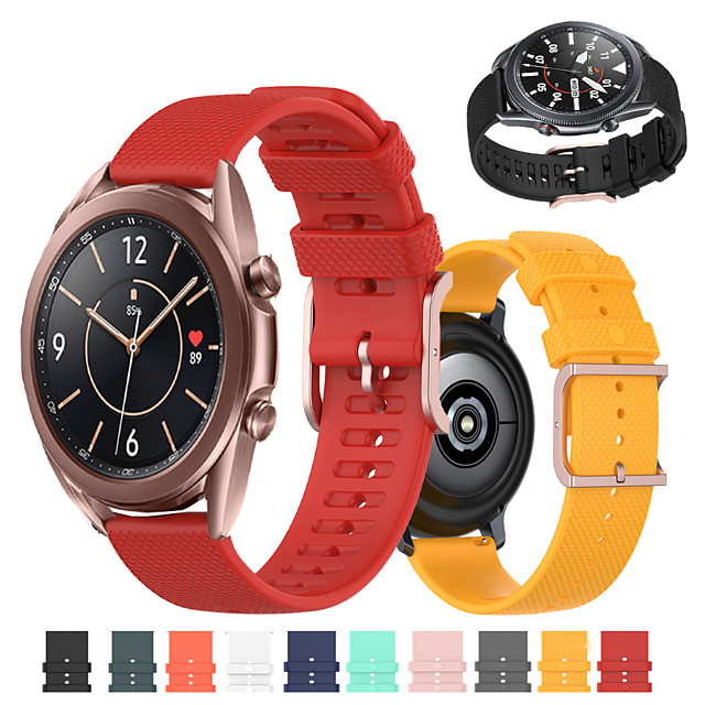 Sport Silicone Watch Band for Samsung Galaxy Watch 3 45mm 41mm / Galaxy Watch 42mm 46mm / Active 2 40mm 44mm / Gear S3 Classic Frontier / Gear Sport / S2 Classic Replaceable Bracelet Wrist Strap