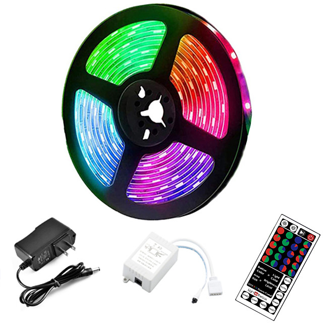 5m LED Strip Lights RGB Tiktok Lights 300 LED 2835 SMD RGB Tape Lights Light Sets Self Adhesive Multicolor for Room Kitchen TV Festival Illumination with Remote 12V
