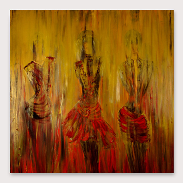 IARTS Hand Painted dancing girl Oil Painting with Stretched Frame For Home Decoration With Stretched Frame