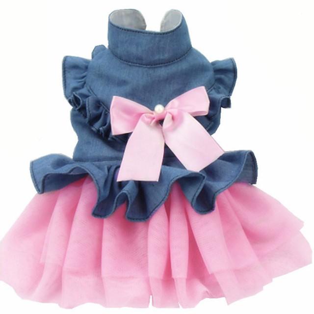 Dog Cat Dress Bowknot Stylish Sweet Style Dog Clothes Pink Costume Cotton XS S M L XL XXL