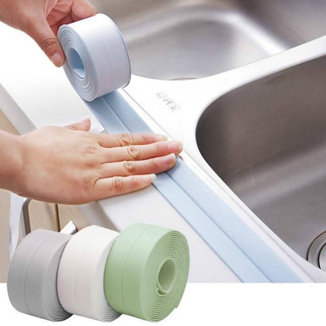 Bathroom Sticker Multifunction Modern ABS Material Bath Sealing Strip Tape Self adhesive Waterproof 1pc