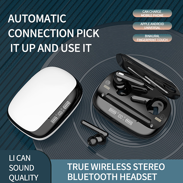 LITBest T30 TWS True Wireless Earbuds Bluetooth5.0 Stereo with Microphone with Charging Box Auto Pairing LED Power Display for Travel Entertainment