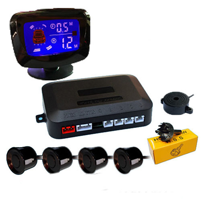 A45 Car Auto Vehicle Reverse Backup Radar System with 4 Parking Sensors Distance Detection  LCD Distance Display  Sound Warning buzzing