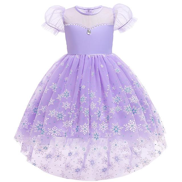 Elsa Dress Cosplay Costume Girls' Movie Cosplay Vacation Dress Halloween Purple Dress Christmas Halloween Carnival Polyester / Cotton