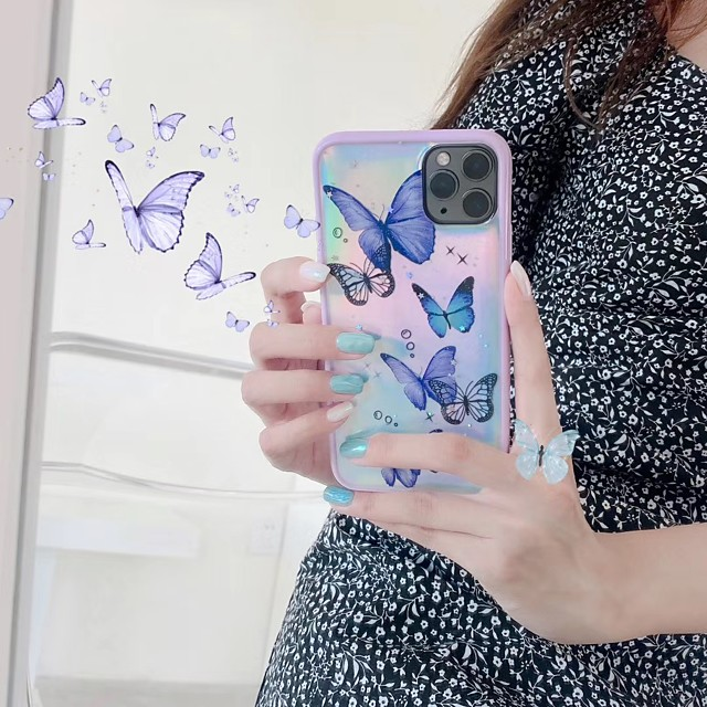Cute Laser Butterfly Phone Case Card For IPhone 11 Pro Max XS Max XR 6 7 8 Plus Pink Glitter Purple Light Soft TPU Cover