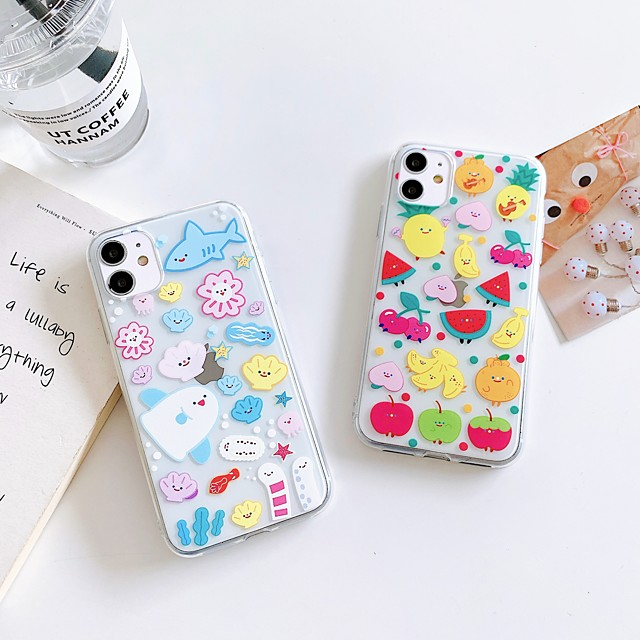 Apple Case For iPhone7 8 7plus 8plus  XR XS XSMAX  X SE 11 11Pro 11ProMax Transparent Pattern Back Cover Food Animal Cartoon TPU