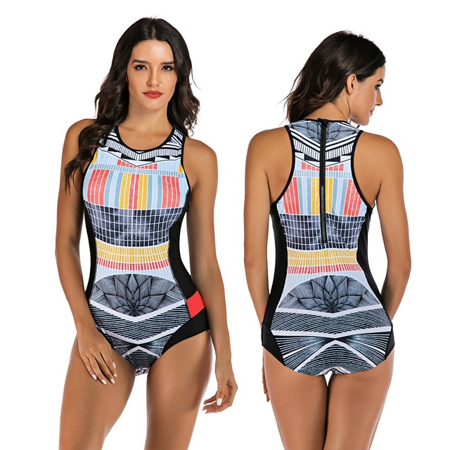 Women's One Piece Swimsuit Elastane Swimwear Breathable Quick Dry Sleeveless Back Zip - Swimming Surfing Water Sports Summer / Stretchy
