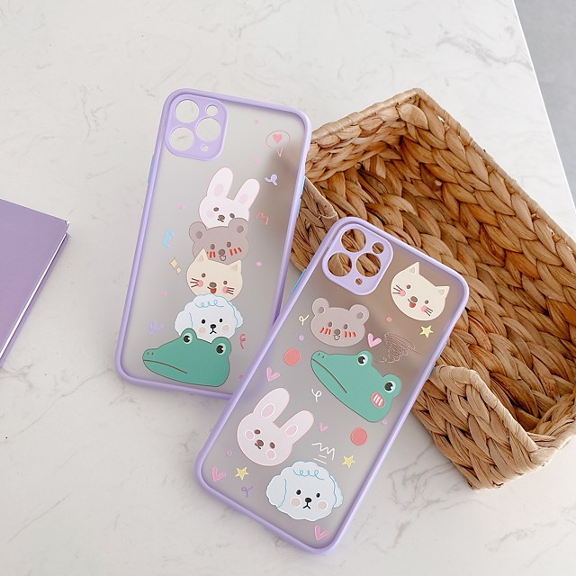Case For Apple iPhone 7 8 plus SE 2020 X XS XR XS max  11 11 Pro 11 Pro Max Pattern Back Cover  Cartoon TPU Embossed cute LOVELY BEAR RABBIT animal