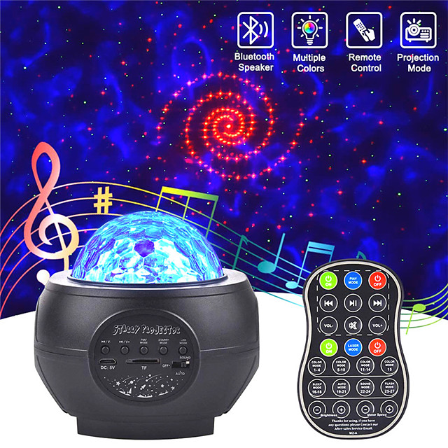 Led Starry Sky Projector Usb Speakers Night Light Romantic Colorful Starry Sky Projection Lamp With Remote Control Party Lamp