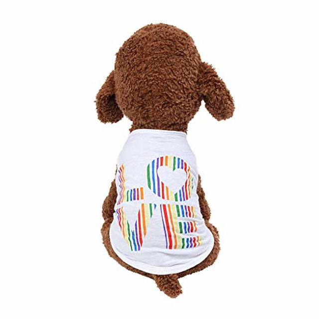 [ship from usa] rainbow colors love print dog shirts, soft & breathable puppy vest, summer pet dog cat clothes (white)