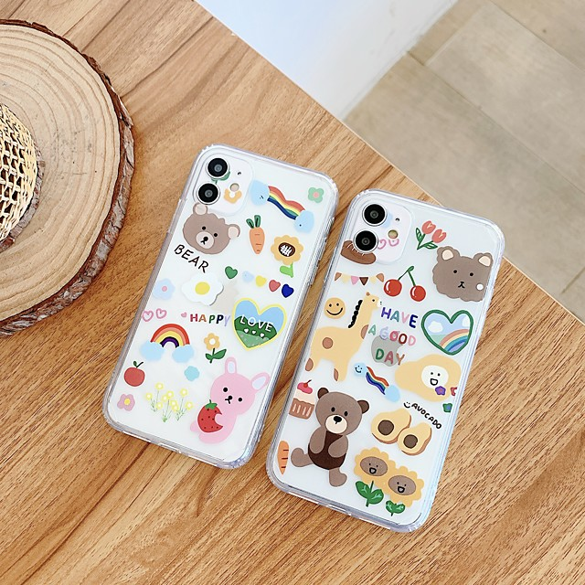 Case For Apple iPhone 7 8 7plus 8plus X XR XS XSMax SE(2020) iPhone 11 11Pro 11ProMax Shockproof Ultra-thin Pattern Back Cover Food Word Phrase Animal TPU