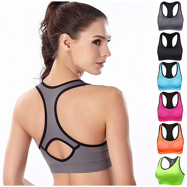 Women's Sports Bra Bra Top Bralette Racerback Spandex Yoga Fitness Gym Workout Breathable High Impact Soft No Padded High Support Neon Green Black Fuchsia Blue Orange Gray Solid Colored / Stretchy