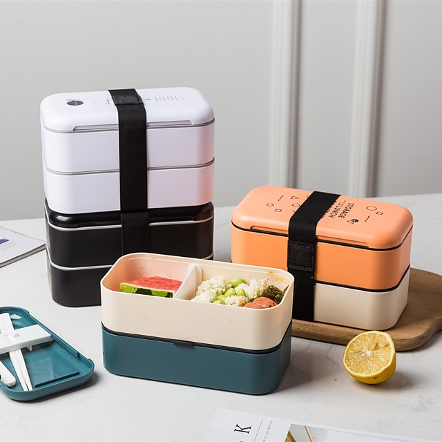 Bento Box 2 Tier Leakproof Lunch Box For Work/School Lunch Packing and Meal Prep Food Containers