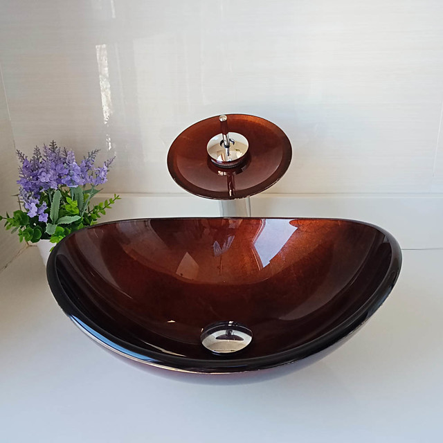 Boat Shape Red Foil Tempered Glass Vessel Sink with Waterfall Faucet Pop - Up Drain and Mounting Ring