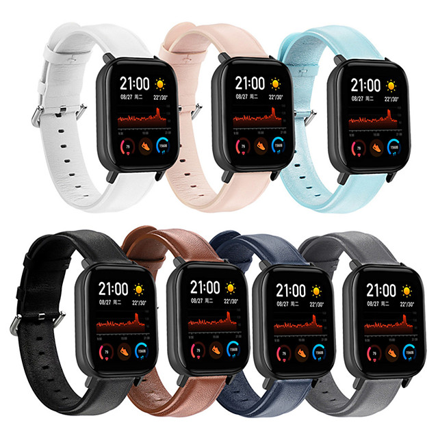 Soft Leather Watch Band for Amazfit GTS / Bip S / Bip Lite / GTR 47mm / GTR 42mm / Stratos 3 / Stratos 2 2S / Pace 1 / Xiaomi Watch Color / Xiaomi Heylou Solar LS05 Replaceable Bracelet Wrist Strap
