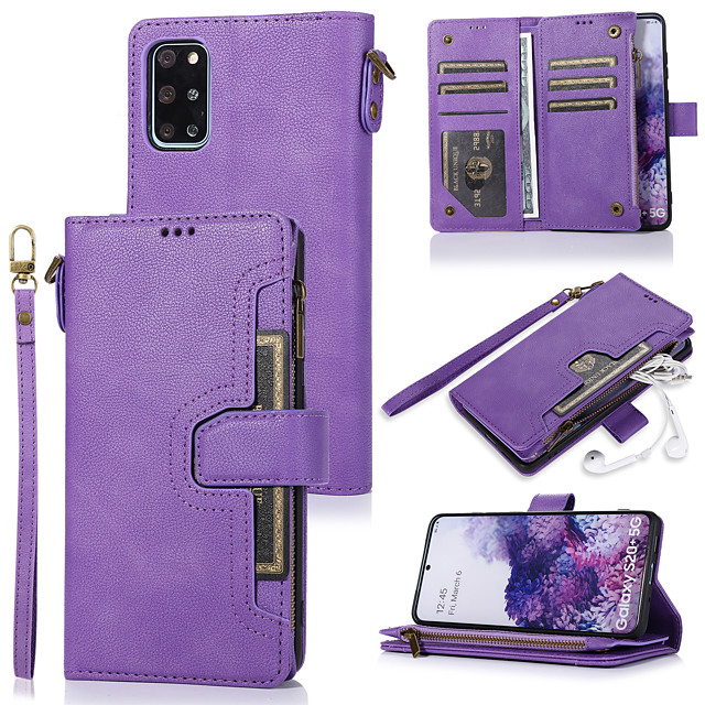 Case For Samsung Galaxy A51 A71 A70E A41 A31 A5 2018 A8 2018 Note 20 Card Holder Flip Magnetic Full Body Cases Solid Colored PU Leather