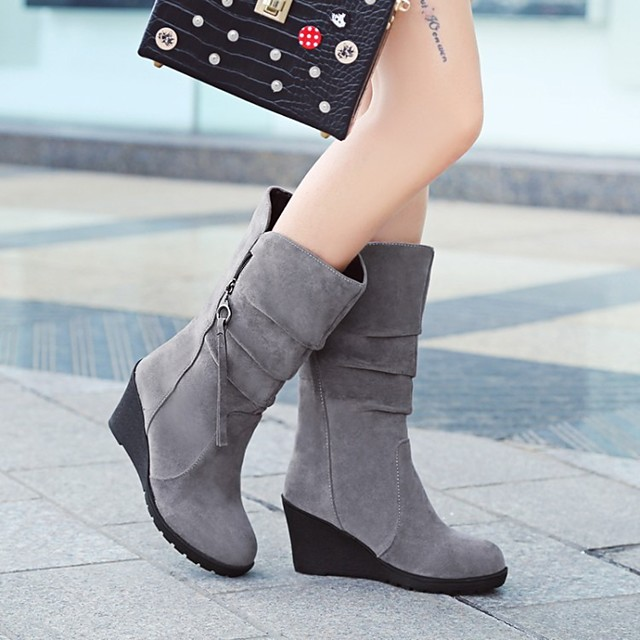 Women's Boots Wedge Heel Round Toe Mid Calf Boots Classic Daily Nubuck Solid Colored Black Red Army Green / Mid-Calf Boots
