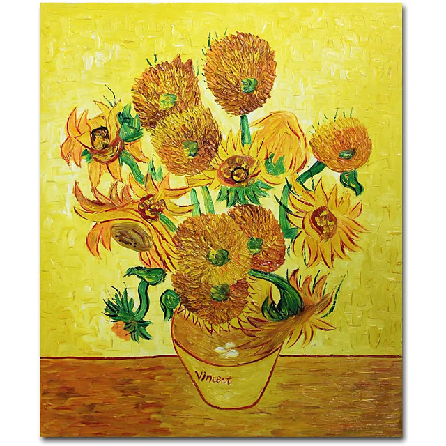 100% Hand Painted Vincent Van Gogh Flower Oil Painting Collection Art Home Decorative Canvas  Wall Picture Living Room Free Shipping Rolled Without Frame
