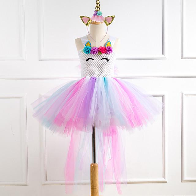 Unicorn Dress Costume Girls' Movie Cosplay Tutus Plaited Vacation Dress White Dress Headwear Christmas Halloween Carnival Polyester / Cotton Polyester