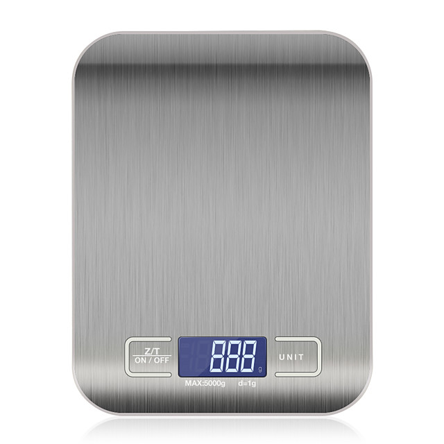10kg OZ/ML/LB/G Kitchen Scale Stainless Steel Weighing Scale Food Diet Postal Balance Measuring Tool LCD Electronic Scales Use 2 AAA batteries not included