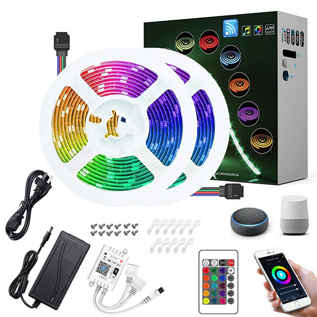 ZDM 10M(2*5M) LED Light Strips RGB Tiktok Lights Intelligent Dimming App Control Waterproof Flexible 5050 SMD 300 LEDs IR 24 Key Controller with Installation Package 12V 4A Adapter Kit