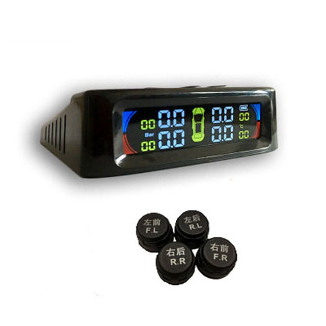 Color Screen External Tire Pressure Monitoring System Voice Wireless Smart Tire Safety Monitor Solar Power TPMS Tire Pressure Monitoring System with 4 External Cap Sensors Real Time pressure detector