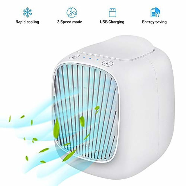 portable air conditioner fan,3 speeds space evaporative air cooler super quiet personal table fan mini evaporative air circulator cooler for home office bedroom (white)