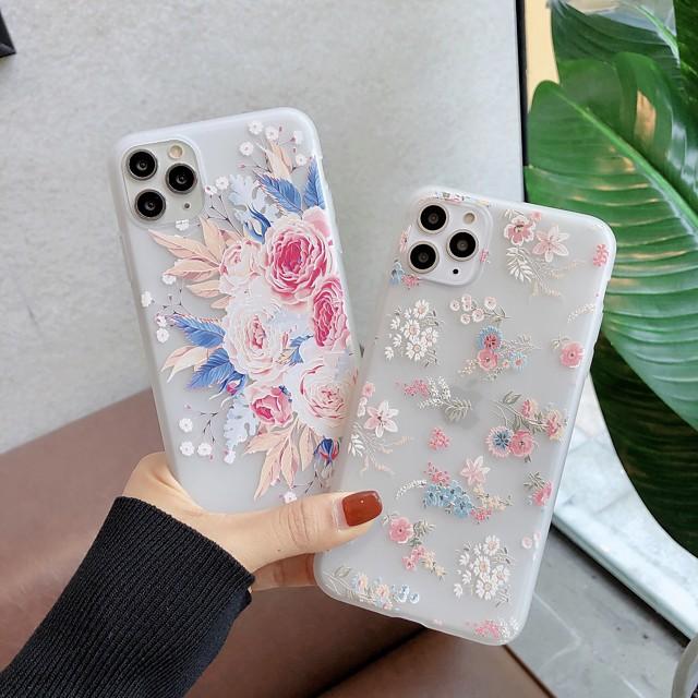 Case For  iPhone 5 5C 5S SE 6 6s 7 8 6plus 6splus 7plus 8plus X XR XS XSMax SE(2020) iPhone 11 11Pro 11ProMax Ultra-thin Transparent Pattern Back Cover Flower TPU