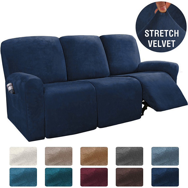 Sectional Recliner Cover 3 Seater Couch Cover 1 Set of 8 Pieces Microfiber Stretch Sofa Slipcover, High Elastic High Quality Velvet Fabric 3 Seats Cushion Recliner Sofa Furniture Protector