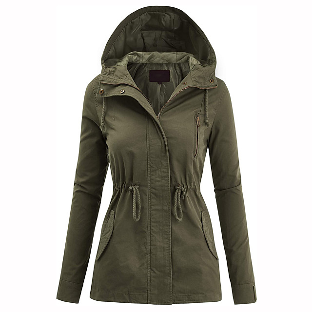 Women's Safari Military Anorak Jacket with Hood Drawstring Hoodie Jacket Lightweight Zip Up Jacket Windbreaker Casual Coat Top Winter Outerwear Outdoor Thermal Warm Windproof Camping Fishing Climbing
